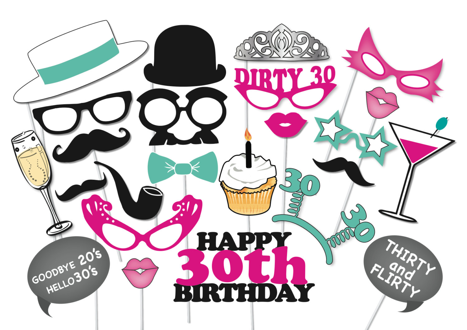 30th birthday clipart ; 80927