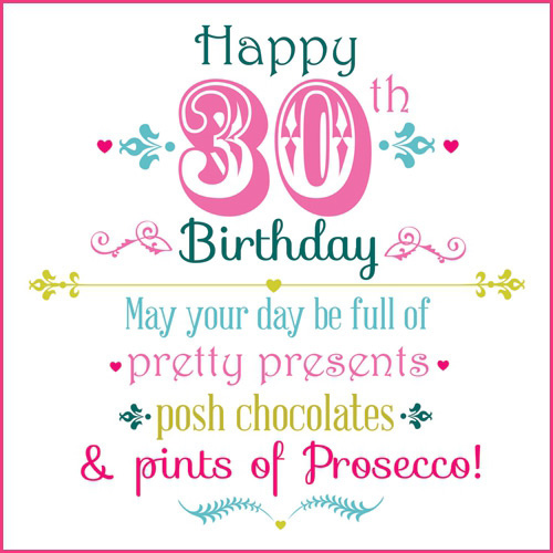 30th birthday greeting card messages ; 0