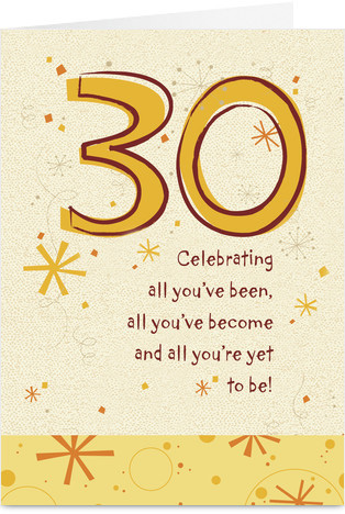 30th birthday greeting card messages ; 3