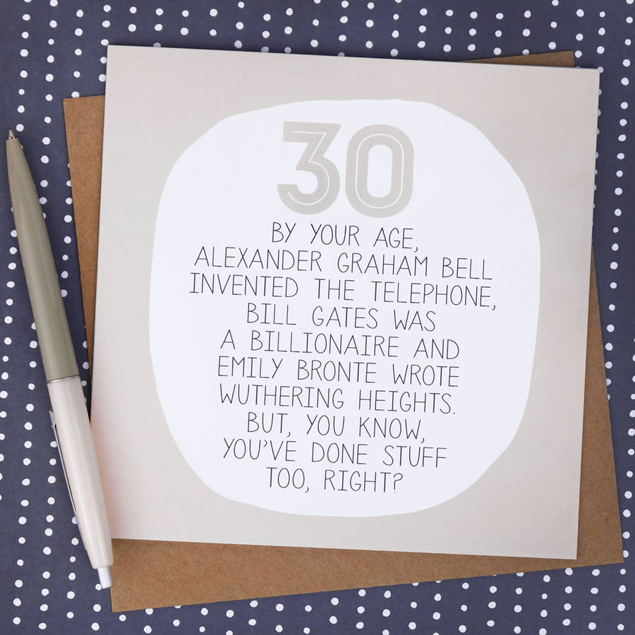 30th birthday greeting card messages ; original_by-your-age-30th-birthday-card