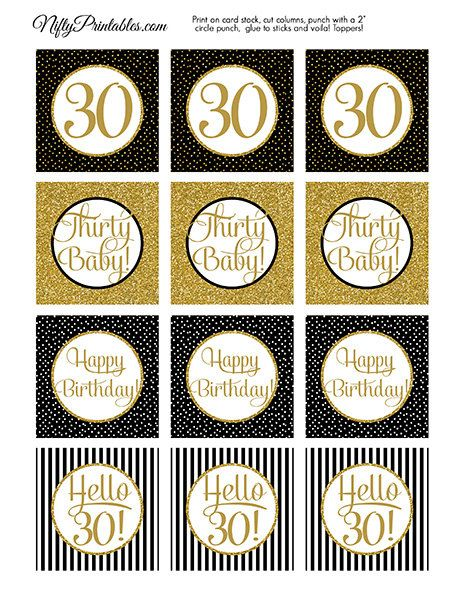 30th birthday labels ; black-gold-glitter-30th-birthday-cupcake-toppers-thirtieth-cake
