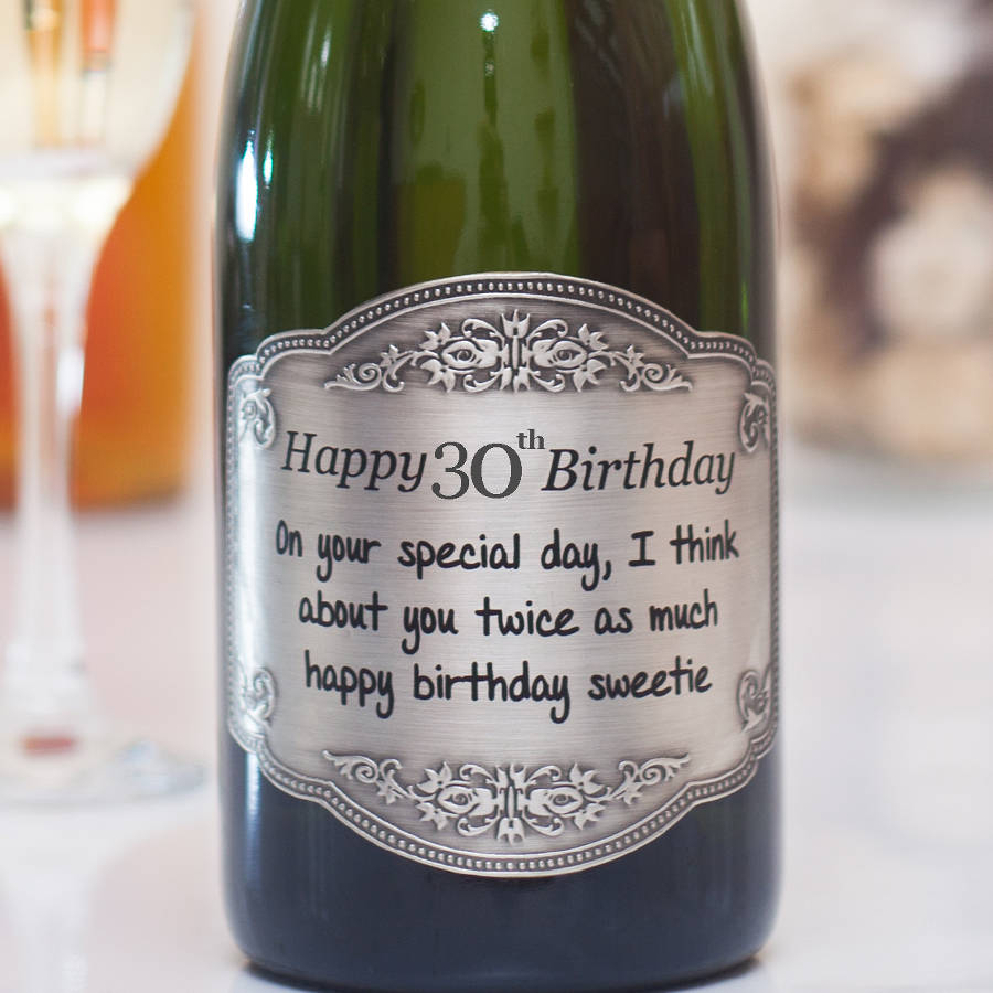 30th birthday labels ; original_personalised-30th-birthday-champagne-with-pewter-label