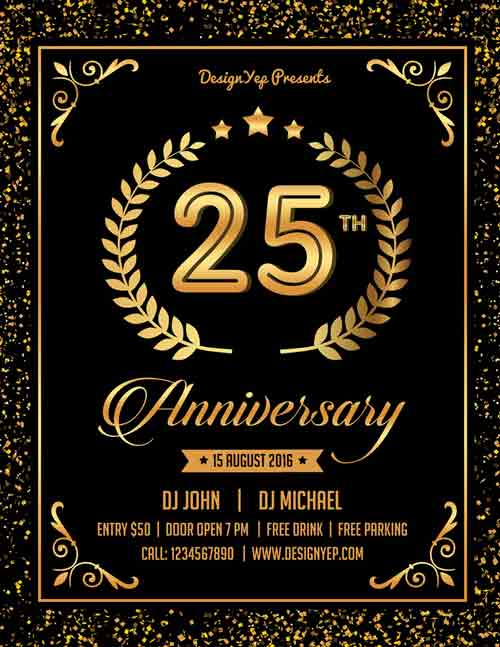 30th birthday poster templates ; Free-Anniversary-Party-Flyer-PSD-Template-FreePSDFlyer-com