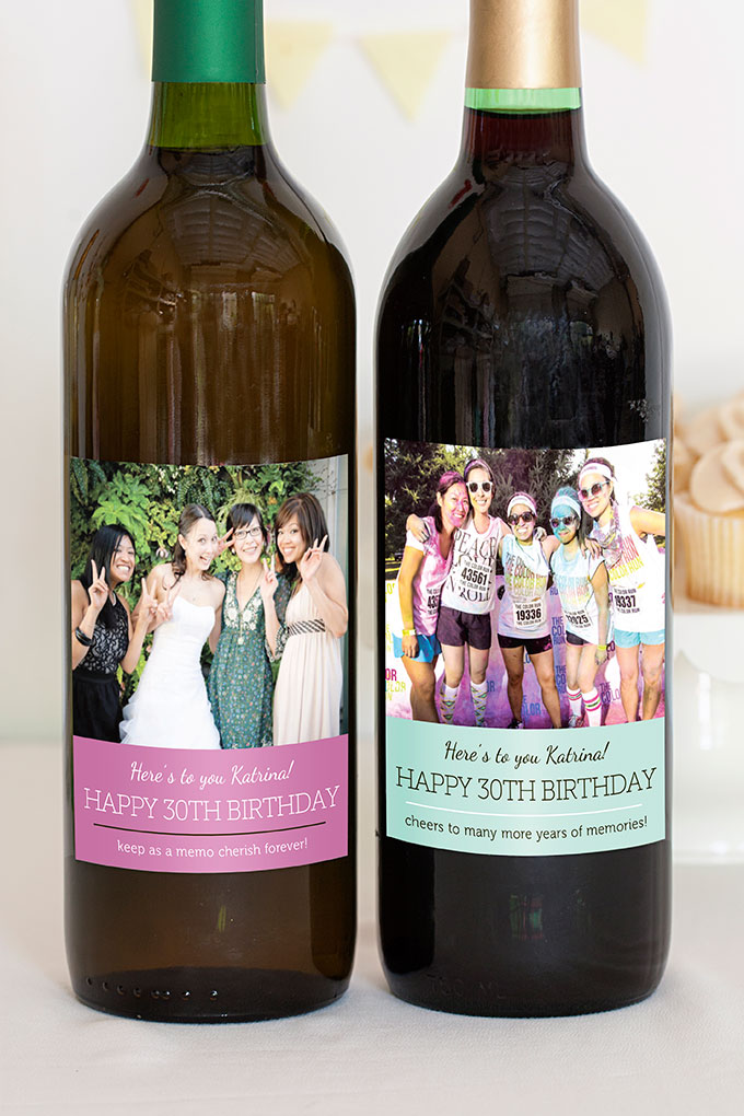 30th birthday wine bottle labels ; MBW4