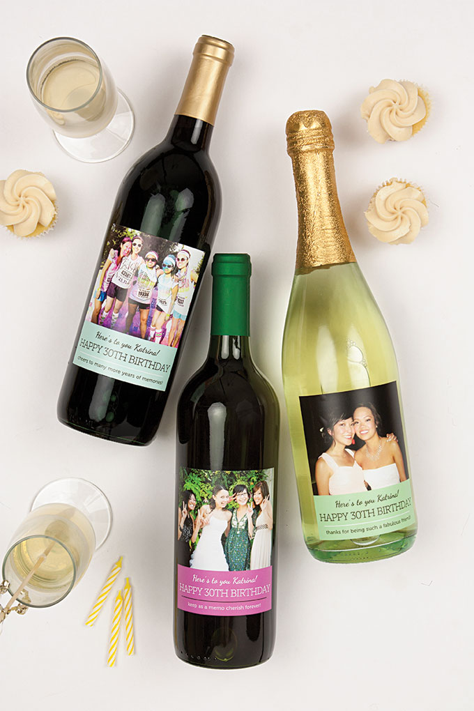 30th birthday wine bottle labels ; MBW6