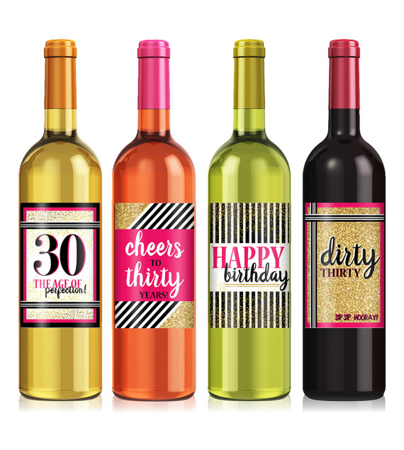 30th birthday wine bottle labels ; il_570xN
