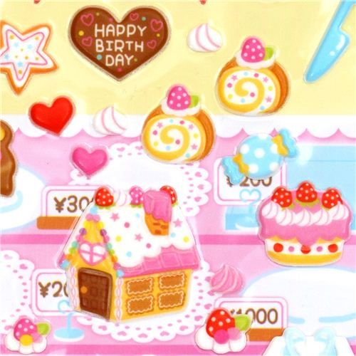 3d birthday stickers ; 3D-sponge-sticker-set-birthday-cake-sweets-164274-1