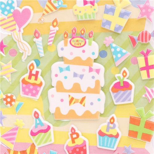 3d birthday stickers ; Happy-Birthday-3D-birthday-stickers-from-Japan-cake-presents-191365-1