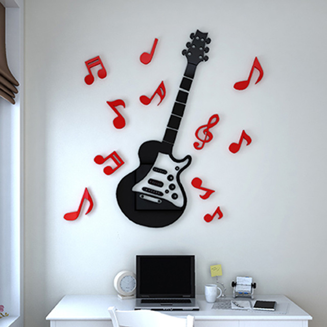 3d birthday stickers ; Popular-Rock-Guitar-Wall-Sticker-3D-Acrylic-Stickers-Wonderful-Home-Kids-Room-Decorations-Birthday-Gift