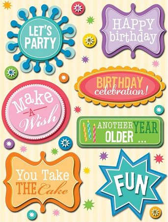 3d birthday stickers ; kc245006