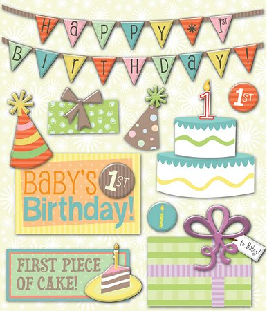 3d birthday stickers ; kc587717