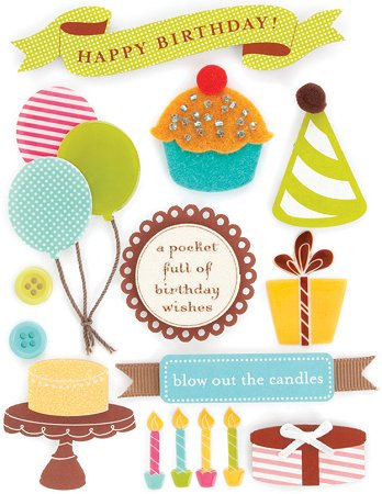 3d birthday stickers ; mm33390