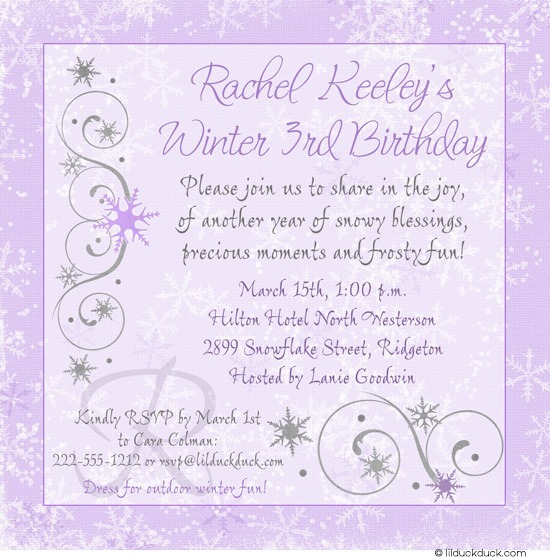 3rd birthday invitation quotes ; Chic-Winter-3rd-birthday-invitation-lavender-silver-gray