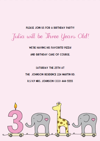 3rd birthday invitation quotes ; PBI-3rdbday-giraffe-elephant-pink