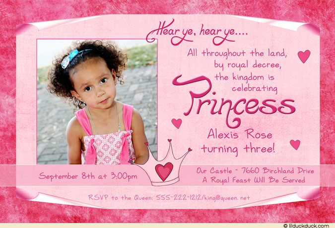 3rd birthday invitation quotes ; princess-3rd-birthday-invitation-pink-photo-royal-decree