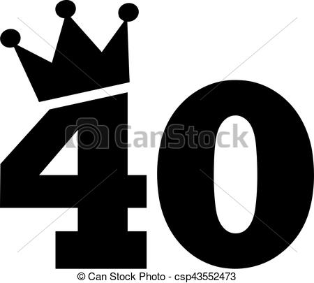 40th birthday clipart ; 40th-birthday-number-crown-image_csp43552473