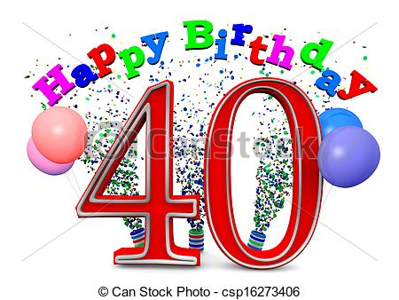 40th birthday clipart images pictures ; happy-40th-birthday-drawing_csp16273406