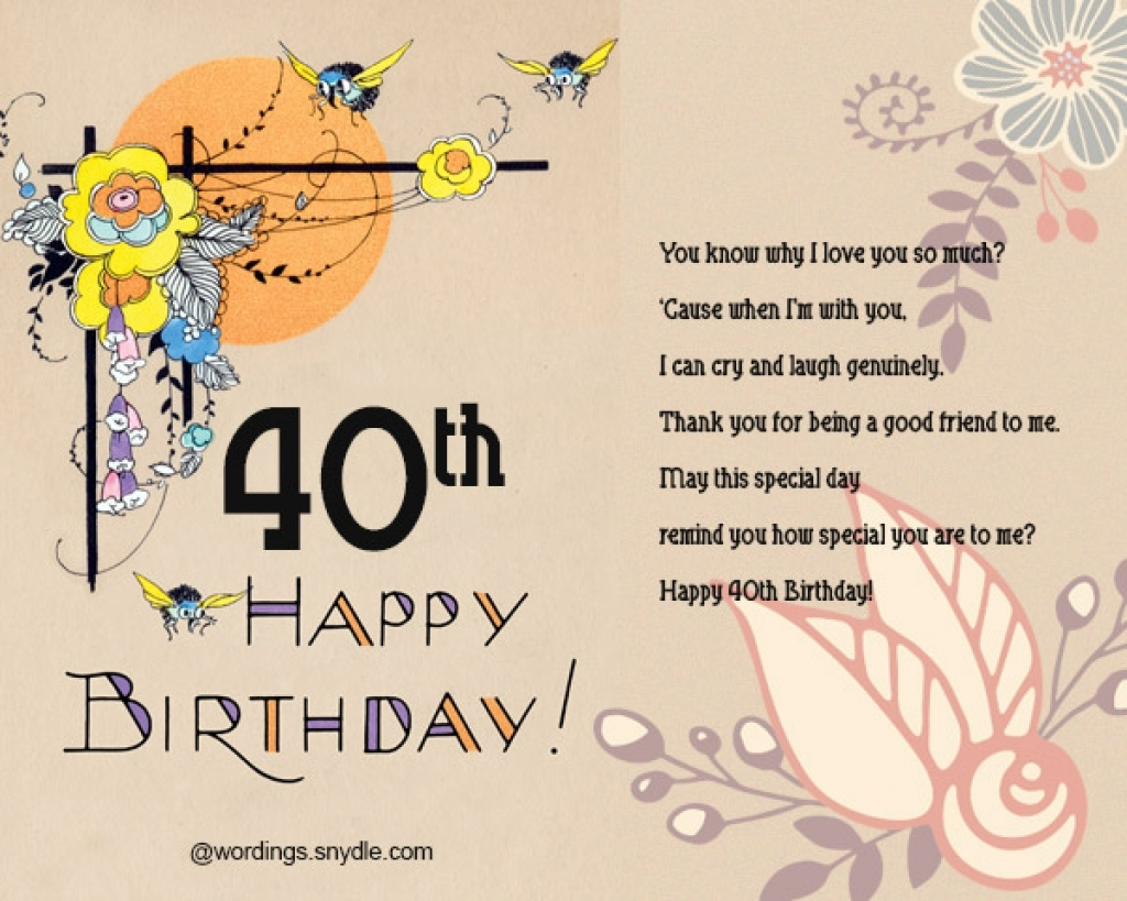 40th Birthday Greeting Card Messages Wishes And