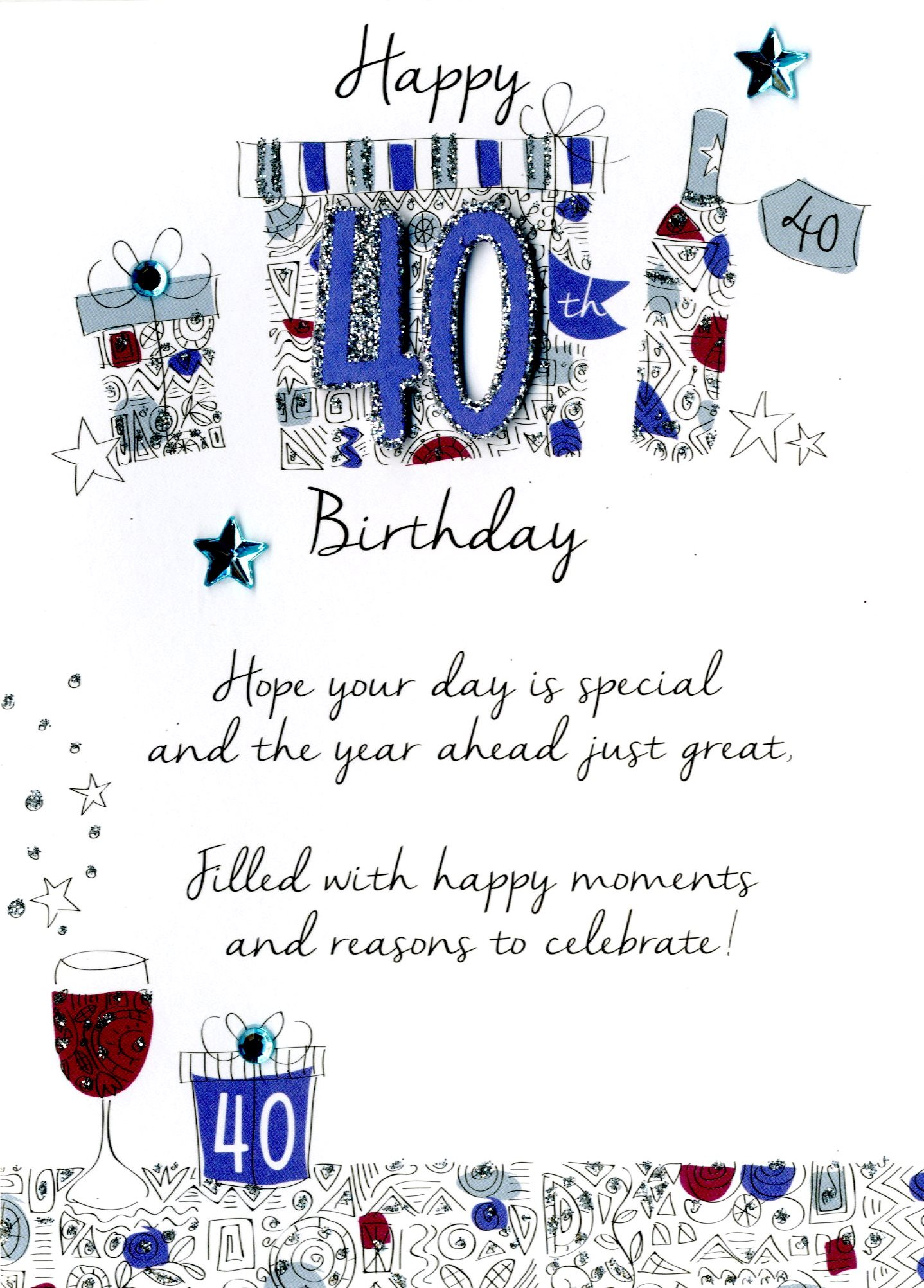 40th birthday greeting card messages ; JT026