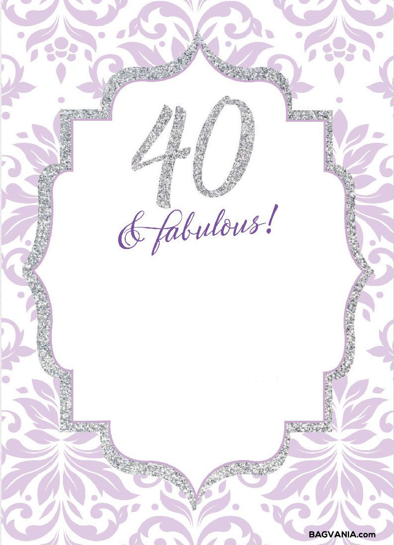 40th birthday invitation templates free printable ; FREE-Printable-40th-Birthday-Invitations-Sparkling-Purple-Template