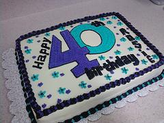 40th birthday sheet cake ; 40e76dde79e6c6374ea8c30043e06622