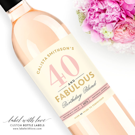 40th birthday wine label ideas ; il_570xN