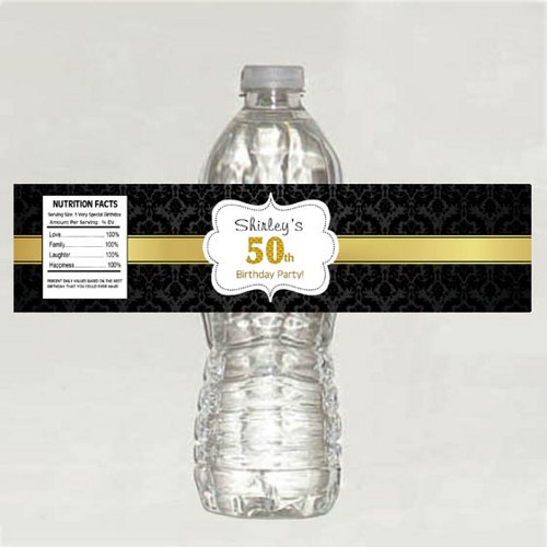 50th birthday labels ; black_damask_50th_anniversary_water_bottle_labels_-_digital_file_26d6fc30