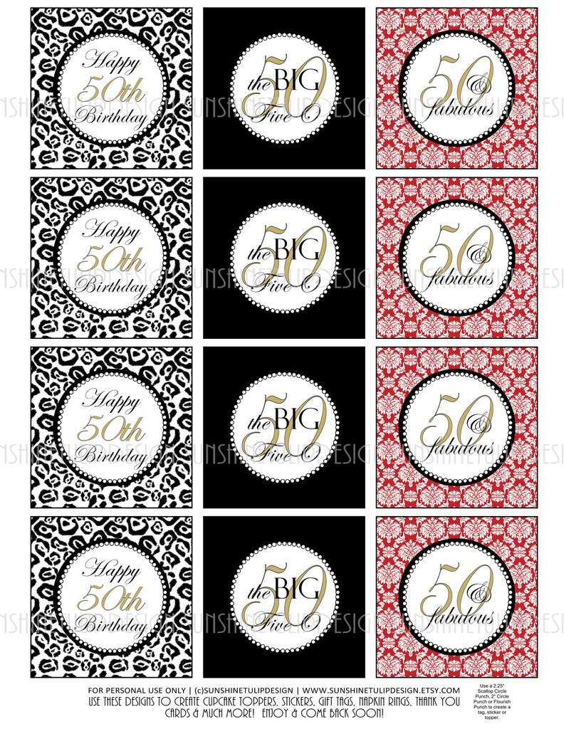 50th birthday party labels ; 2c942ef18339e545fe5cd75e71cc7d12