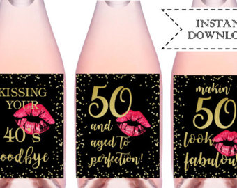 50th birthday party labels ; 54039a8017884391ea8a96a930a1222e