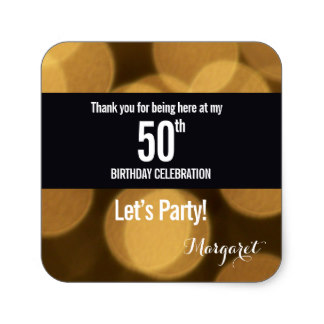 50th birthday party labels ; gold_and_black_theme_50th_birthday_square_sticker-r8e7be51888b54fb3834ac4b980d156af_v9wf3_8byvr_324