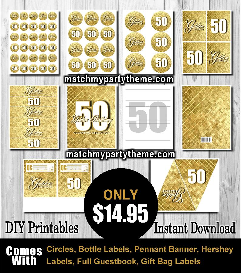 50th birthday party labels ; match-my-party-theme-50th-birthday-golden-birthday-50-party-supplies