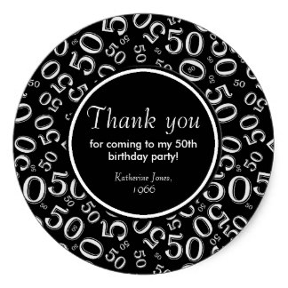 50th birthday party labels ; thank_you_black_and_white_50th_birthday_party_classic_round_sticker-r04798b154ae14f5dbf2c9901adb62609_v9wth_8byvr_324