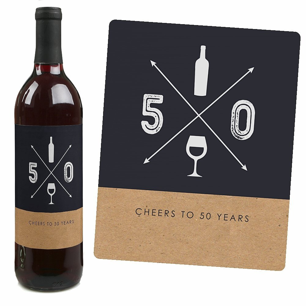 50th birthday wine bottle labels ; 61aSdB2D25L