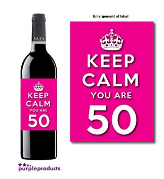 50th birthday wine bottle labels ; 715qR0rmk4L