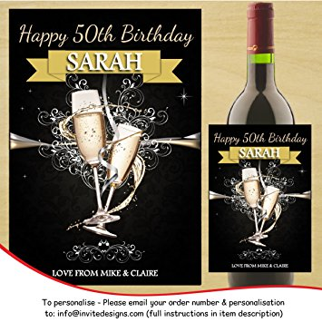 50th birthday wine bottle labels ; 91qOE-AzzQL