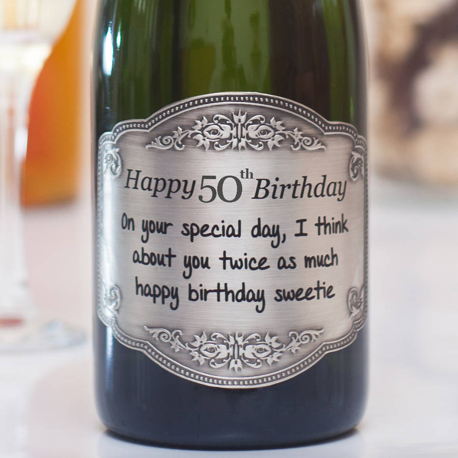 50th birthday wine bottle labels ; original_personalised-50th-birthday-champagne-with-pewter-label