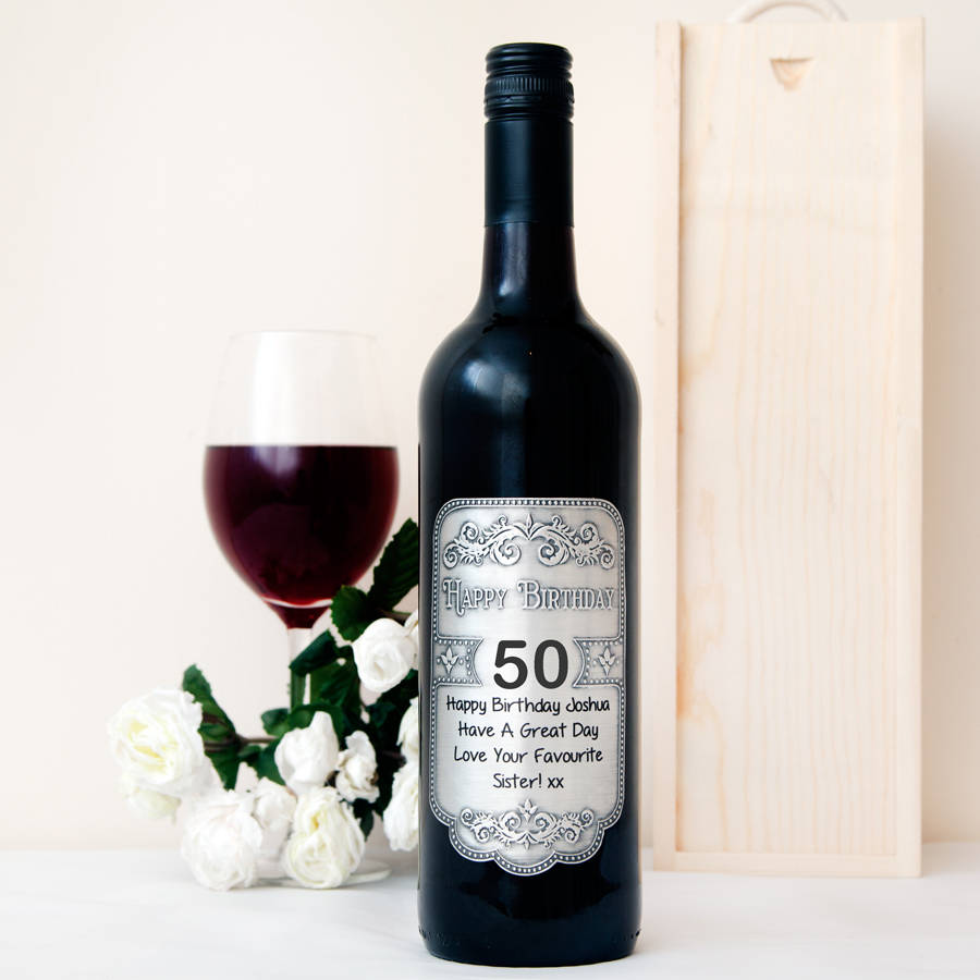 50th birthday wine bottle labels ; original_personalised-50th-birthday-pewter-wine-label
