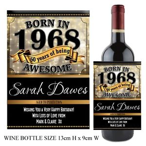 50th birthday wine bottle labels ; s-l300