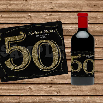 50th birthday wine bottle labels ; x354-q80