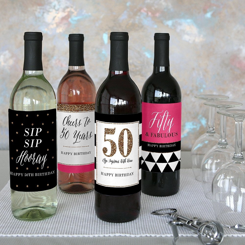 50th birthday wine labels ; 71lwzlH7RwL
