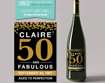 50th birthday wine labels ; il_340x270