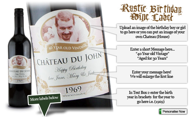 50th birthday wine labels ; yourlabel-birthdays