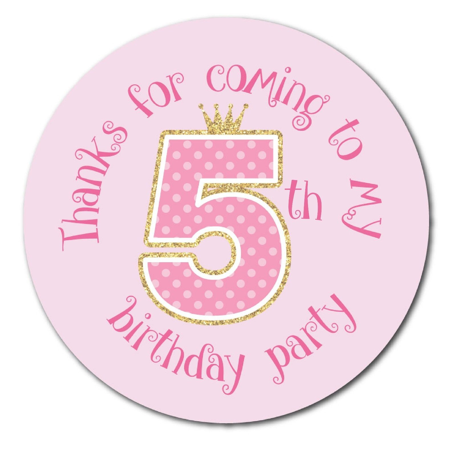 5th birthday stickers ; Thanks-For-Coming-To-My-5th-Birthday-Party-Pink-Polka-dot-30mm-stickers-201921475860