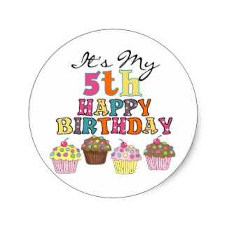 5th birthday stickers ; pretty_cupcakes_5th_birthday_tshirts_and_gifts_classic_round_sticker-r11612387e525482ea20160ce6c26911a_v9waf_8byvr_324