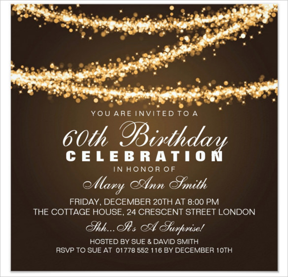 60th birthday invitation templates free printable ; Elegant-Gold-String-Lights-60th-Birthday-Invitations