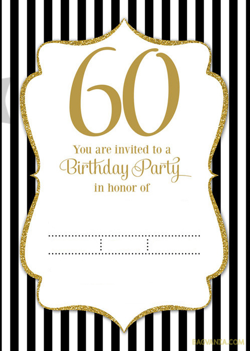 60th Birthday Invitation Templates Free Printable FREE Black And White