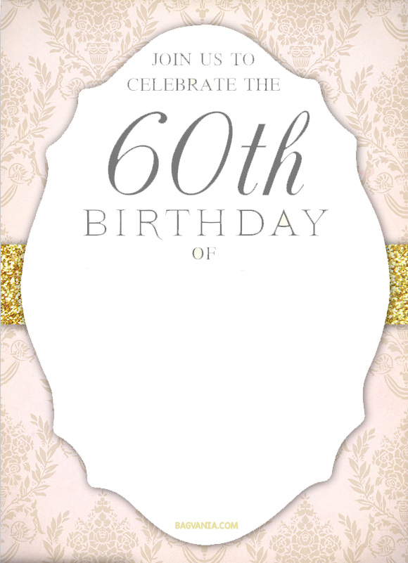 60th birthday invitation templates free printable ; FREE-Printable-Elegant-60th-Birthday-Invitation