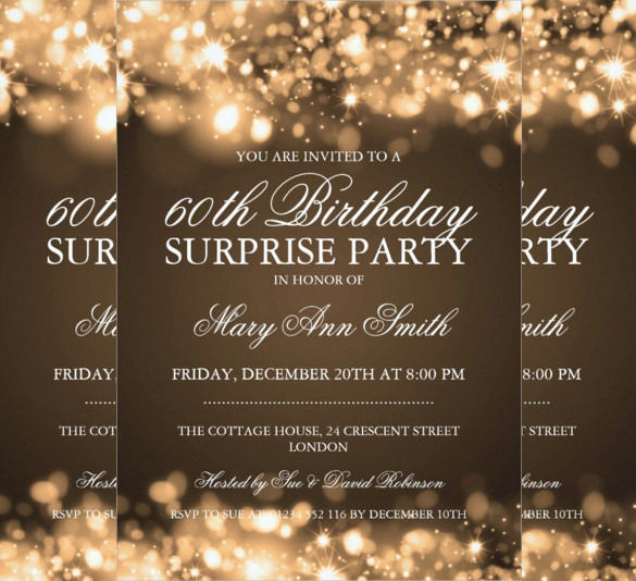 60th birthday invitation templates free printable ; Gold-Sparkling-Lights-Surprise-Birthday-Party-Invitation