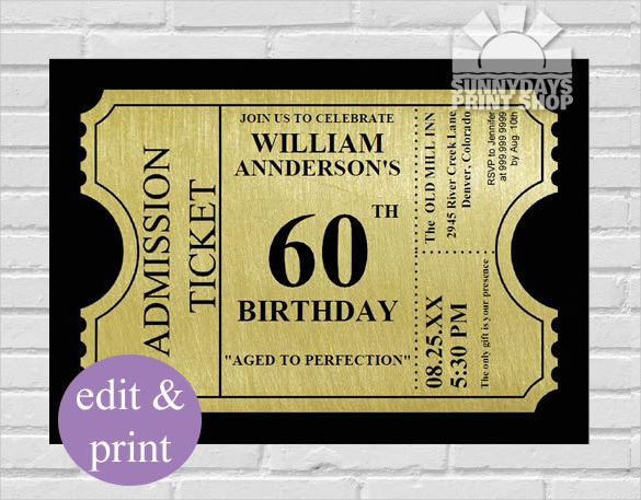 60th birthday invitation templates free printable ; Gold-Ticket-Style-60th-Birthday-Invitation-Template