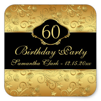 60th birthday labels ; golden_floral_60th_birthday_party_square_sticker-rbff2183ef957425fba6ac07c47f7e562_v9i40_8byvr_324